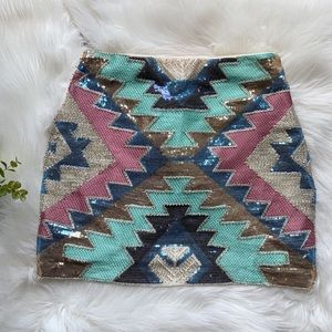 Lulumari Aztec print sequin skirt